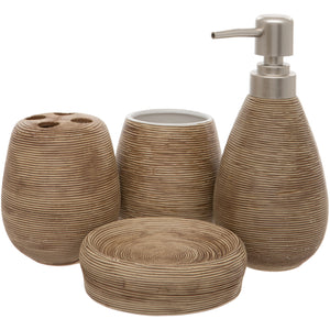 Brown 4 Piece Bathroom Accessory Set