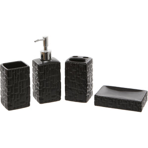 Black Square 4 Piece Bathroom Accessory Set