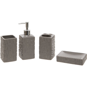 Grey Square 4 Piece Bathroom Accessory Set