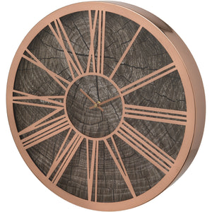 Rose Gold Wood Effect 40cm Wall Clock