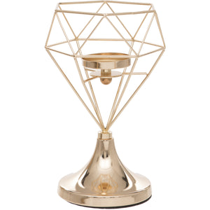 Gold Geometric Design Tealight Holder Stand