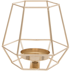 Gold Square Geometric Design Tealight Holder