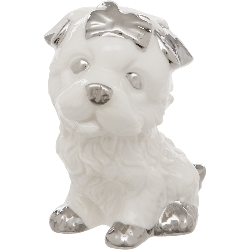 White Ceramic Dog Figurine With Silver Bow