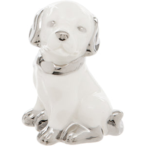 White Ceramic Dog Figurine with Silver Collar