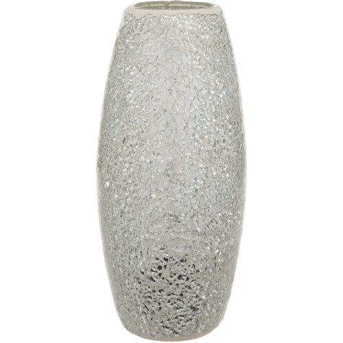 Silver Crackled Glass Mosaic Oval Shaped Vase
