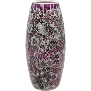Purple Crackled Glass Mosaic Oval Shaped Vase