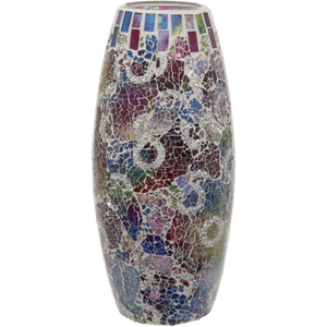 Multi Coloured Crackled Glass Mosaic Oval Shaped Vase