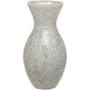 Silver Crackled Glass Mosaic Vase