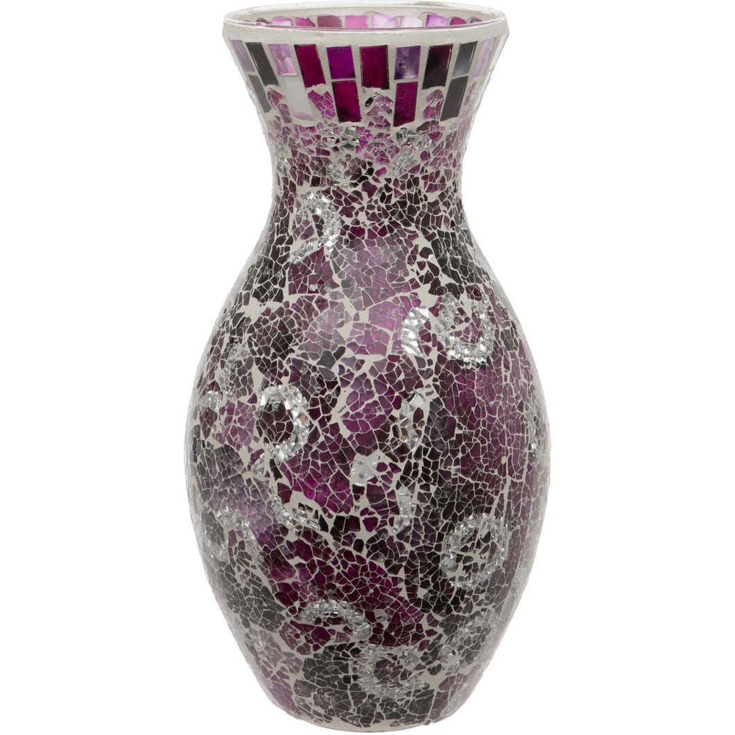 Purple Crackled Glass Mosaic Vase