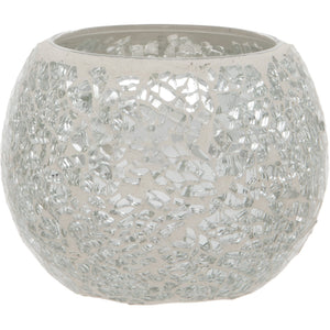 Silver Crackled Glass Mosaic Tealight Holder