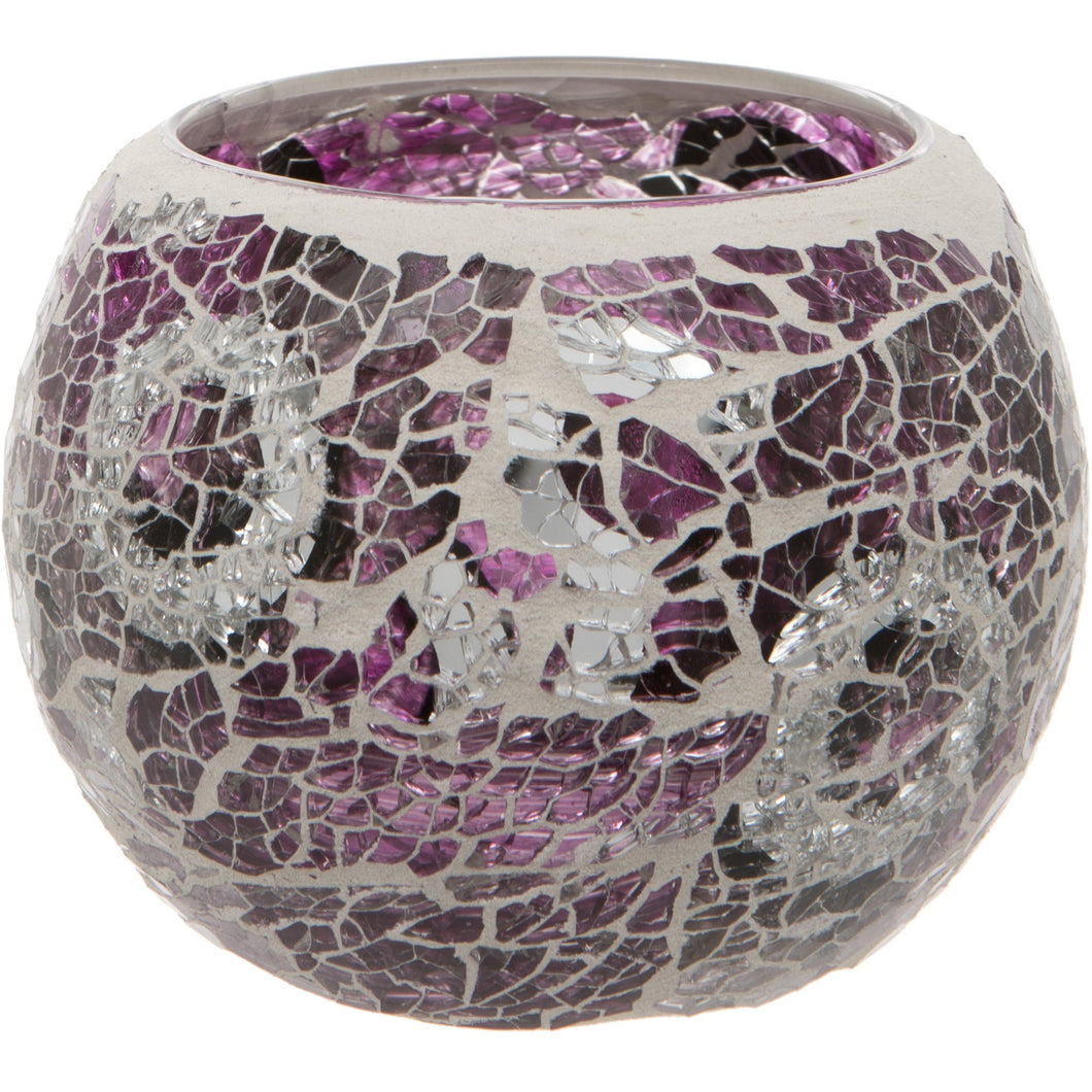 Purple Crackled Glass Mosaic Tealight Holder
