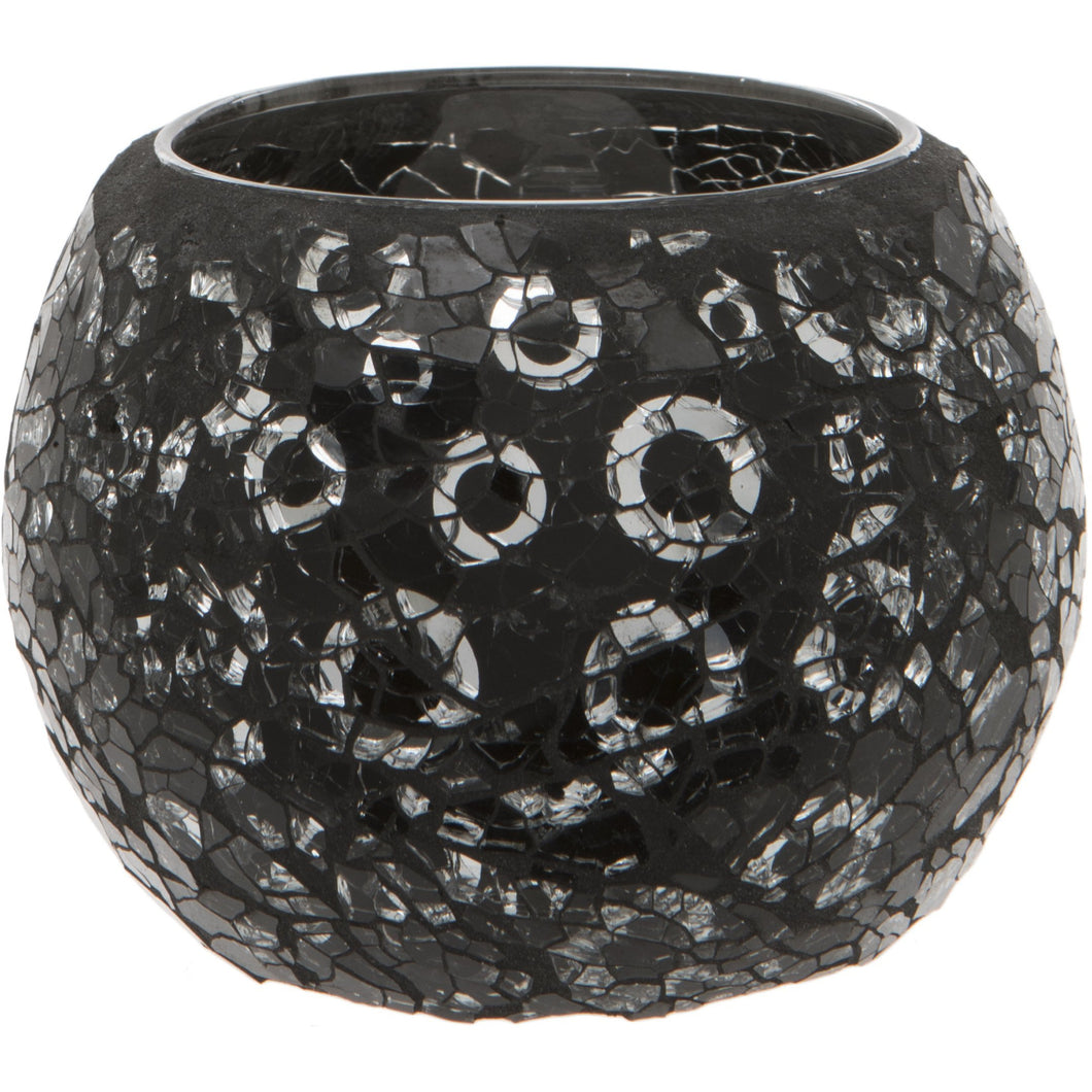 Black and Silver Crackled Glass Mosaic Tealight Holder