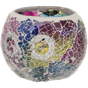 Multi Coloured Crackled Glass Mosaic Tealight Holder
