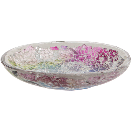 Multi Coloured Crackled Glass Mosaic Soap Dish