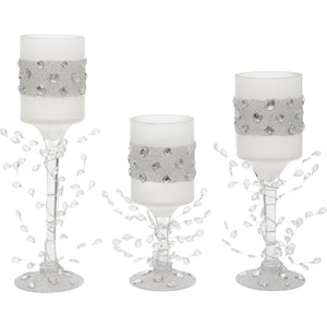 Set of Three White Glass Straight Style Candle Holders with Jewels