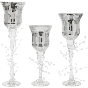 Set of Three Disco Ball Design Goblet Style Glass Candle Holders