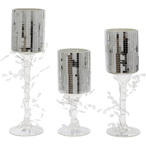 Set of Three Disco Ball Design Straight Style Glass Candle Holders