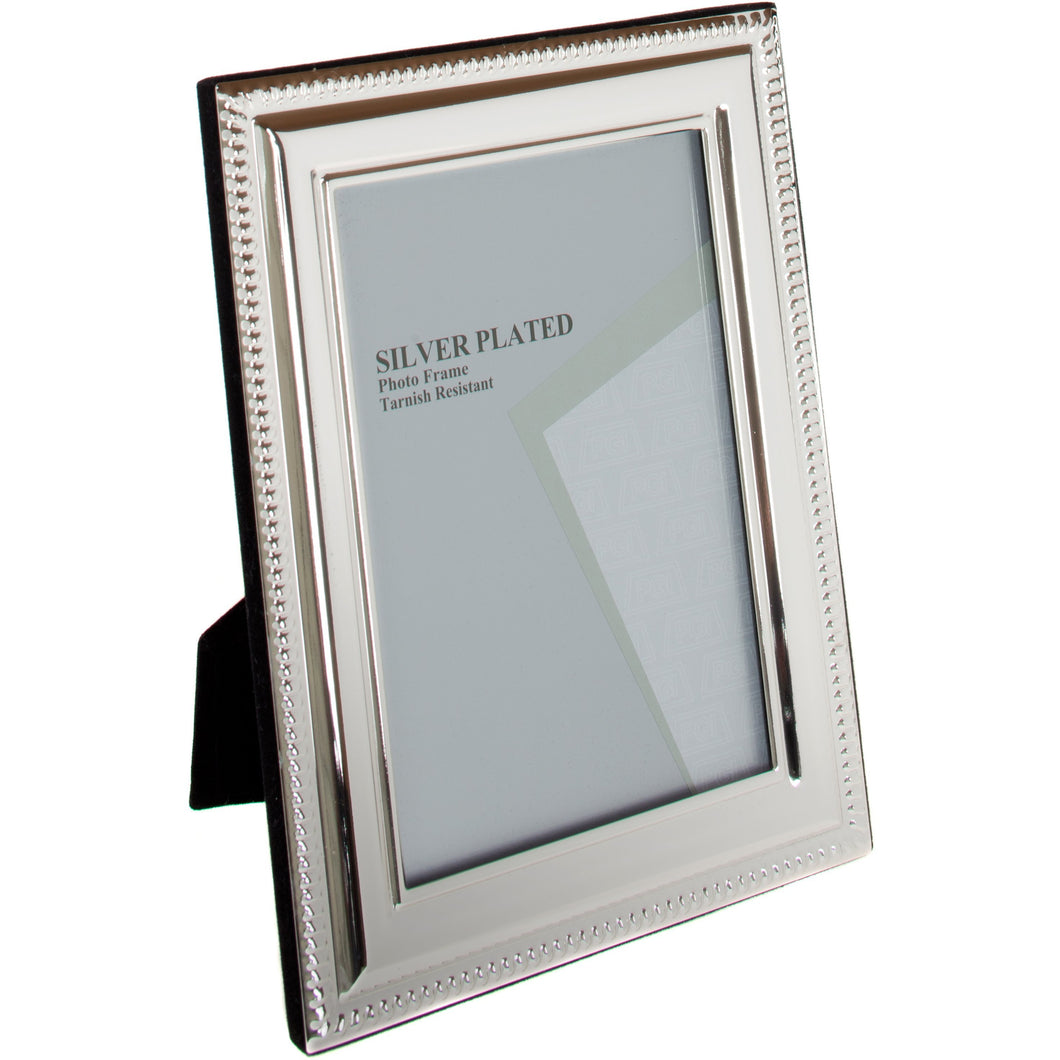 Silver Plated Flat Bead Photo Frame 3.5 x 5-inch