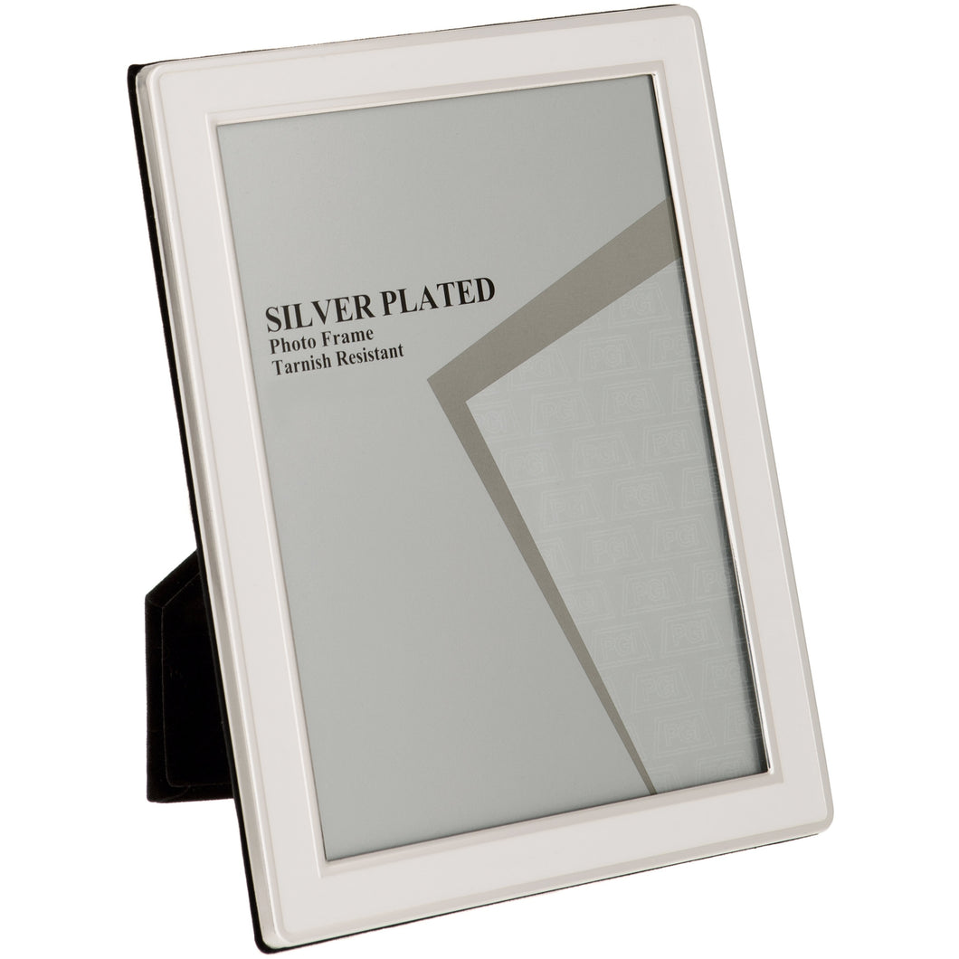 Silver Plated Cream Enamel Photo Frame 6 x 8 -inch