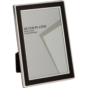 Silver Plated Black Enamel Photo Frame 4 x 6-inch