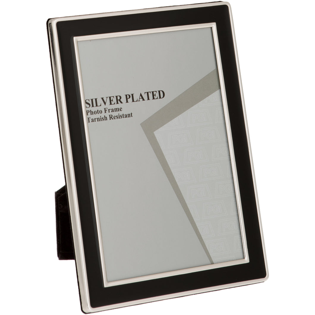 Silver Plated Black Enamel Photo Frame 5 x 7 -inch