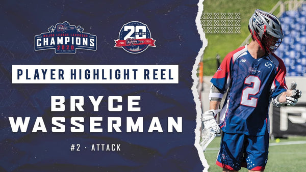 Graphic showing Bryce Wasserman playing professional lacrosse for the Cannons Lacrosse Club during the MLL Championship.