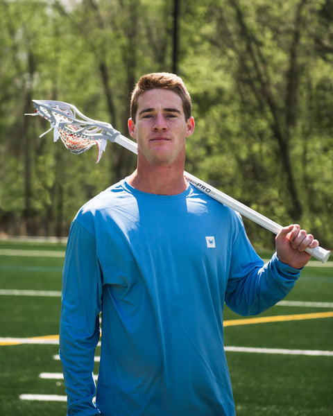 Professional Lacrosse player for the PLL Cannons Lacrosse Club, holding his ECD Lacrosse stick.