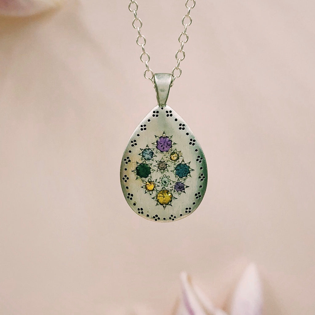 Adel Chefridi - Silver Lights Teardrop Pendant with Sapphires