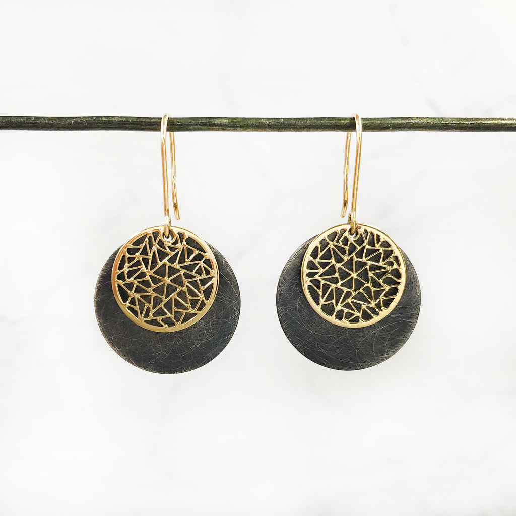Baiyang Qiu - Oxidized Silver and 18k Yellow Gold Circle Earrings