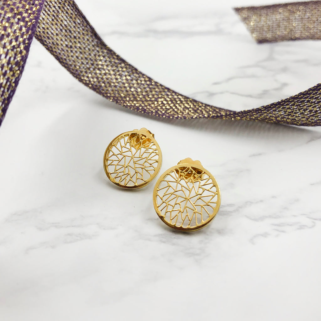 Baiyang Qiu - Round Disc Earrings