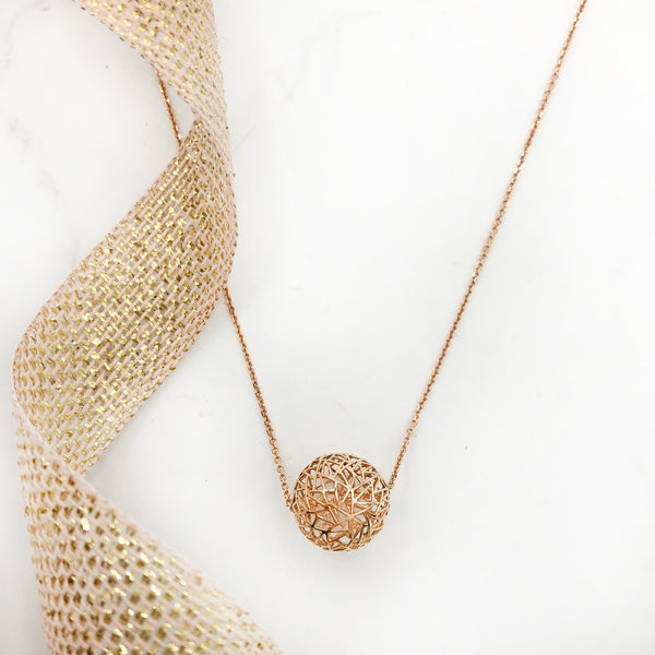 Baiyang Qiu - Rose Gold Sphere Necklace 950