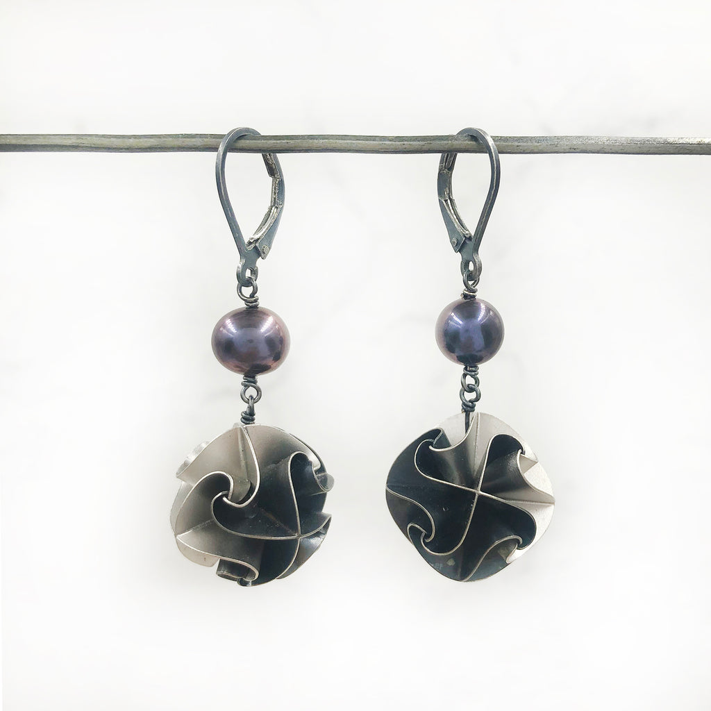 Chihiro Makio - Large Black and Silver Flora Earrings with Pearls