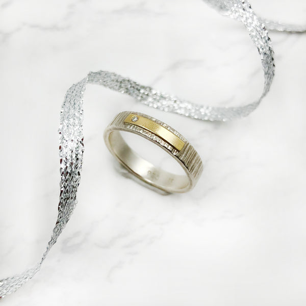 EC Designs - Sterling Silver and Yellow Gold Band