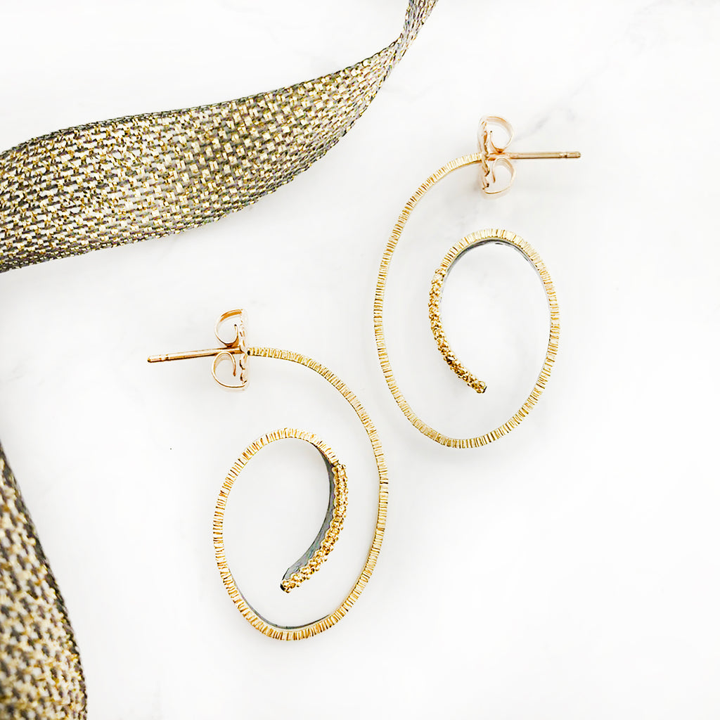Elizabeth Garvin - Cyclone Earrings with Diamonds