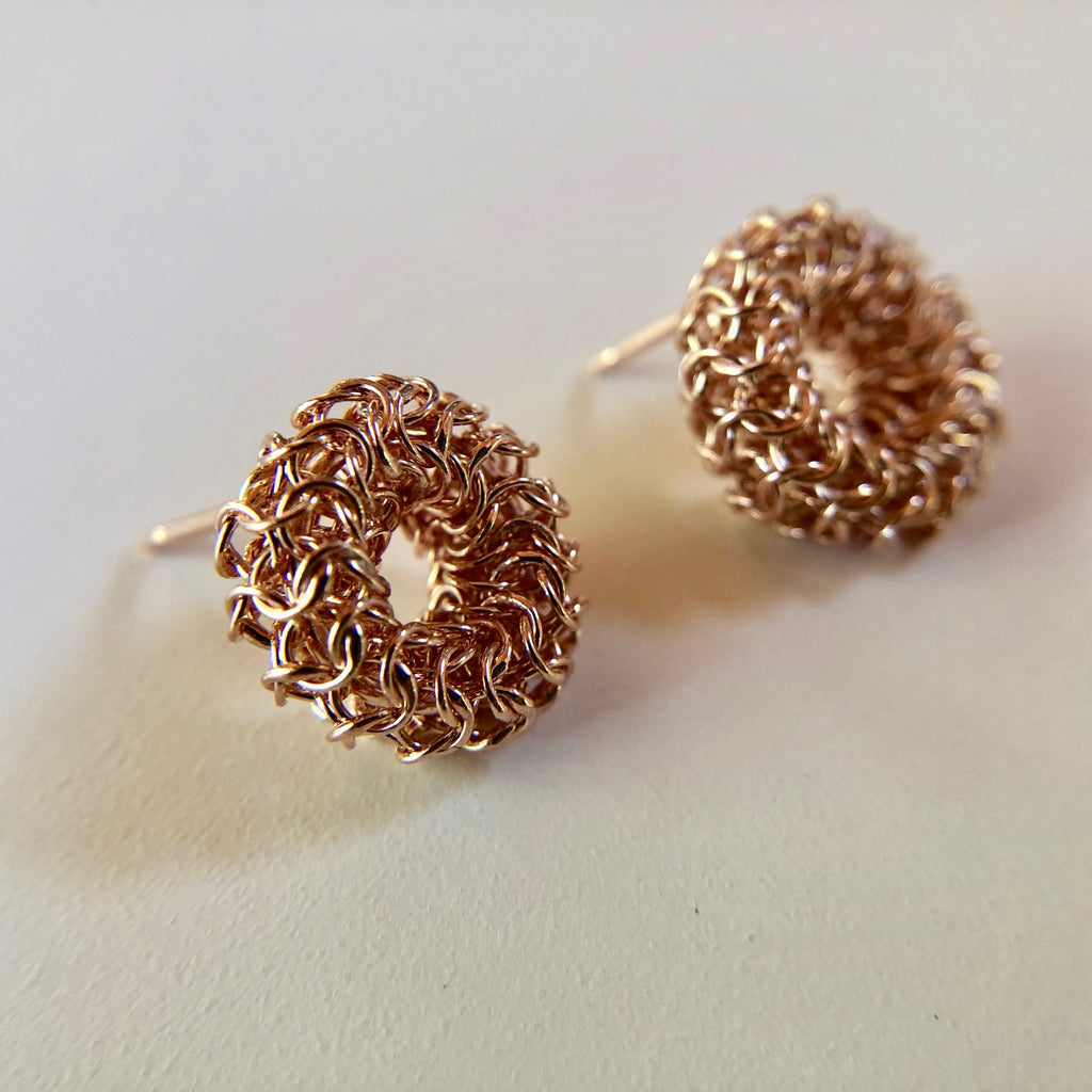 Joanne Thompson - Rose Gold Adair Chain Maille Stud Earrings
