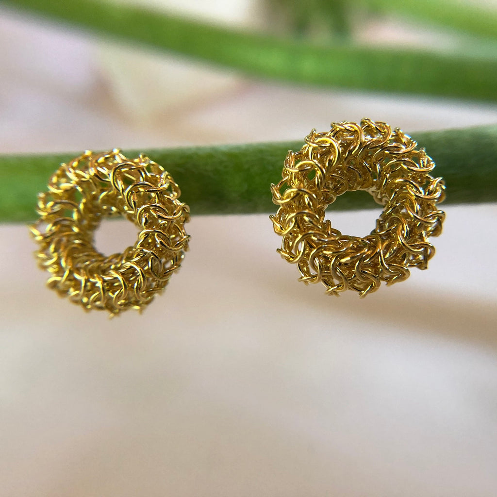 Joanne Thompson - Gold Chaine Maille Stud Earrings