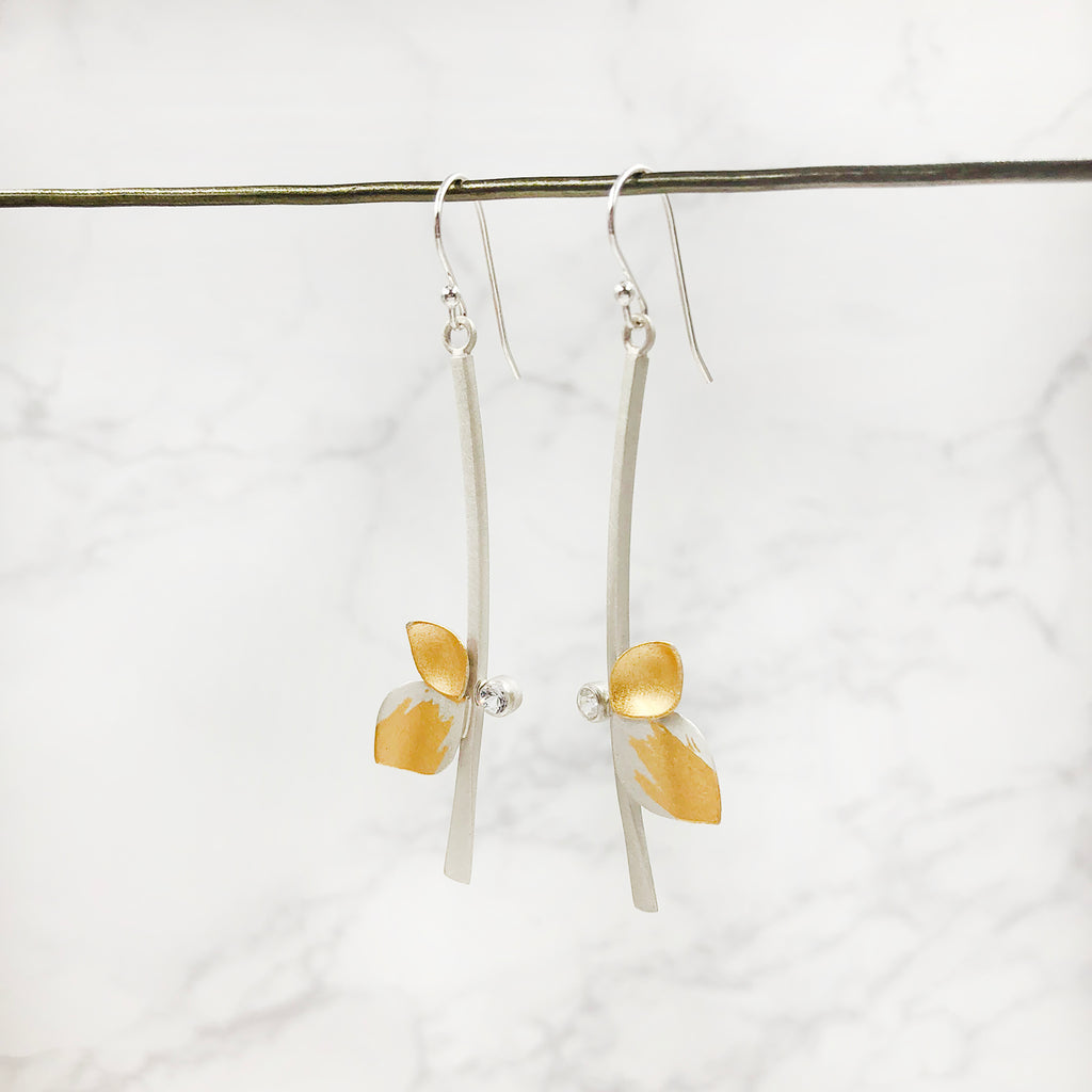 Judith Neugebauer - Two Leaf Drop Earrings