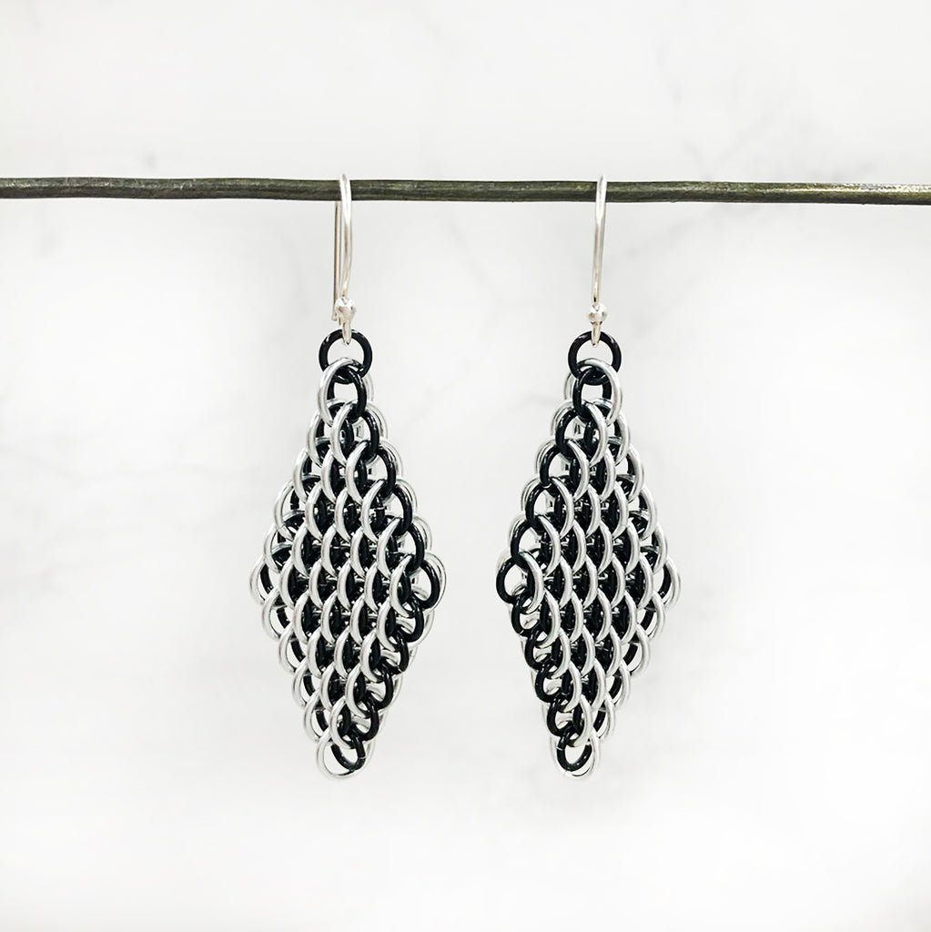Karen Karon - Silver and Black Dragonscale Diamond Earrings