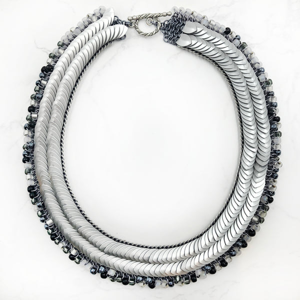 Karen Karon - Tiny Scale Beaded Fringe Necklace