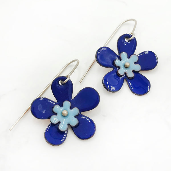Kirsten Denbow - Blue Big Flower Earrings