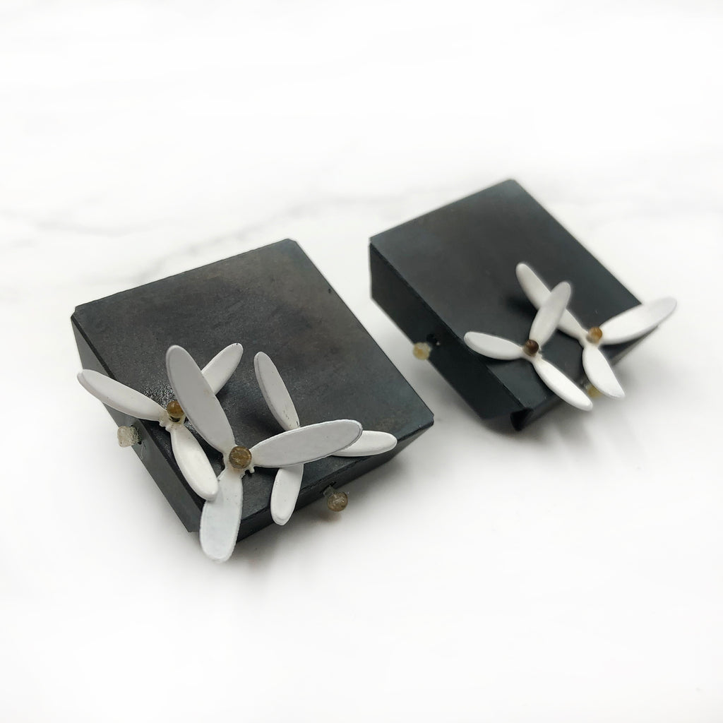 Maia Leppo - Square Post Earrings with White Steel Flowers