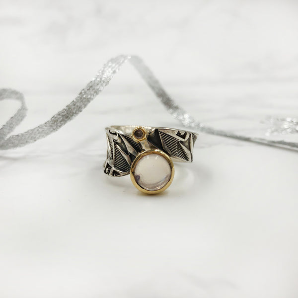 Matthieu Chimineé - Stamped Ring with Moonstone and Diamonds