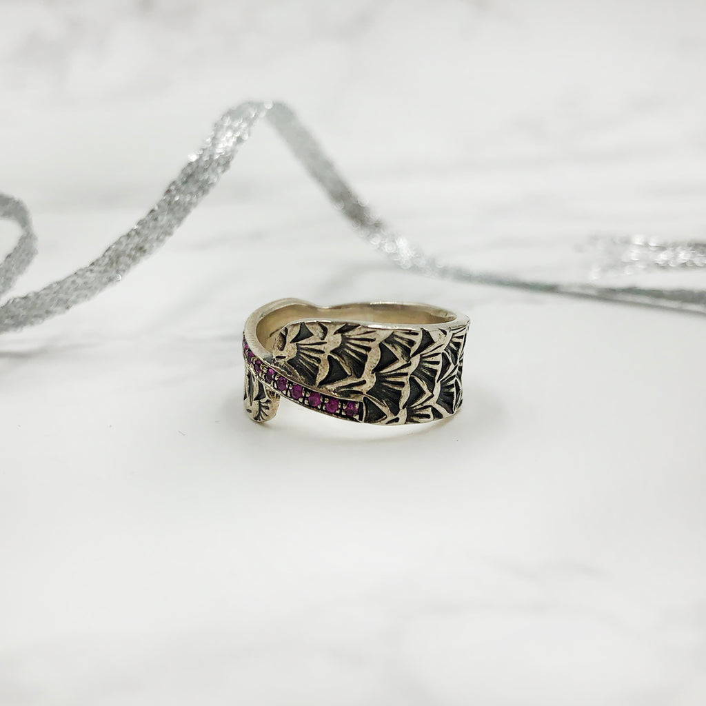 Matthieu Chimineé - Stamped Ring with Pink Sapphires