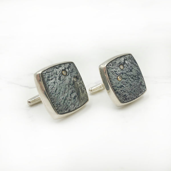 Ryan Gardner - Silver Ore and Diamond Cuff Links