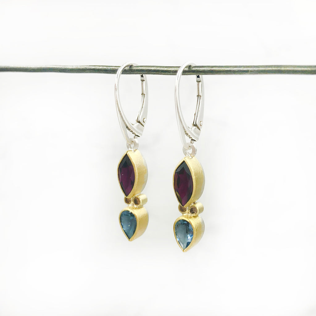 Sam  Woehrmann - Aqua, Garnet and Diamond Earrings