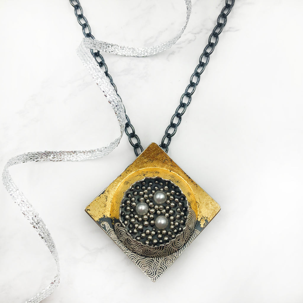 So Young Park - Square Silver and Pearl Pendant