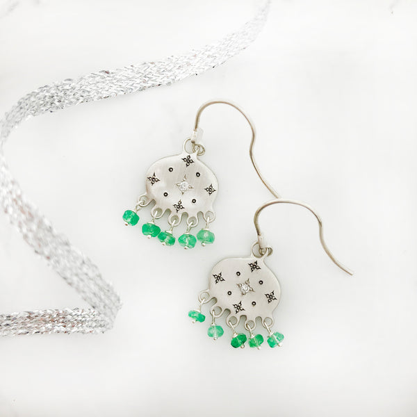 Adel Chefridi - New Moon Emerald Earrings