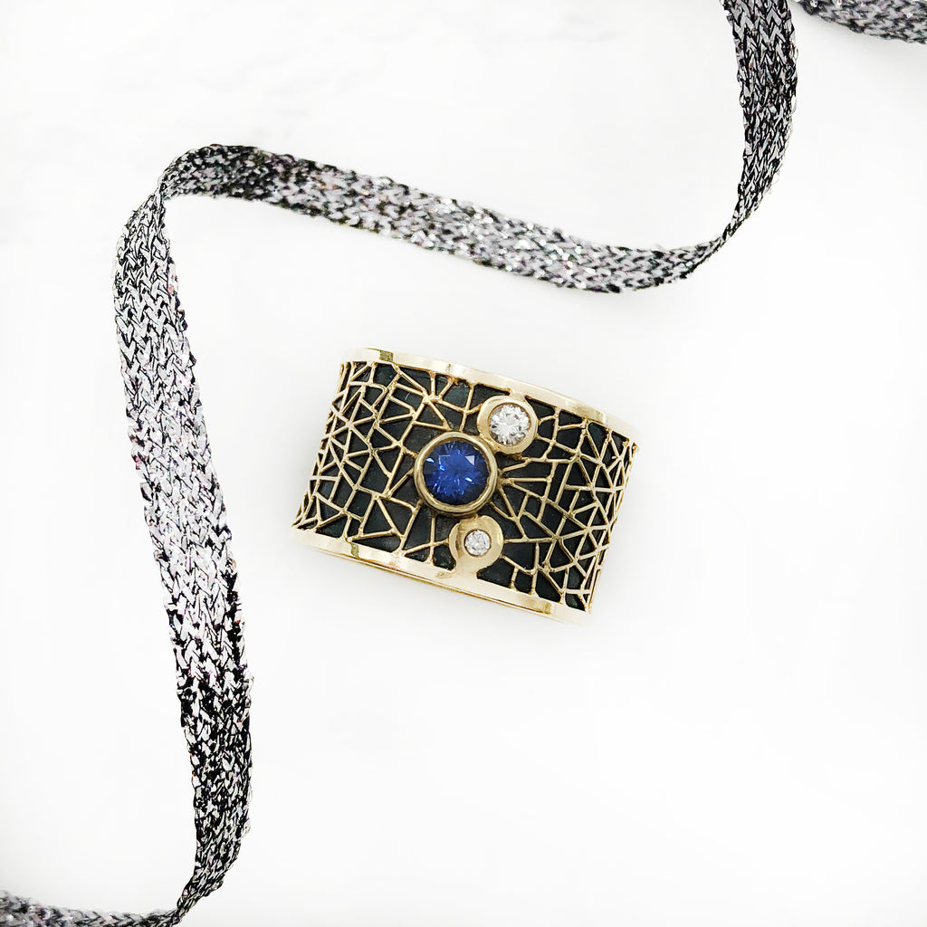 Baiyang Qiu - 18K Wide Band with Diamonds and Sapphire