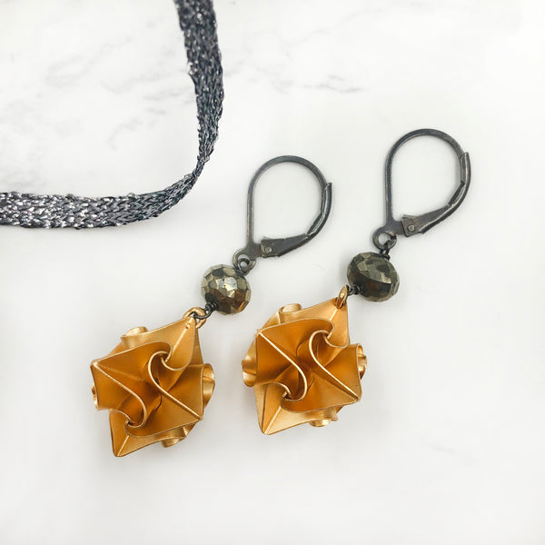 Chihiro Makio Stardust Earrings With Pyrite