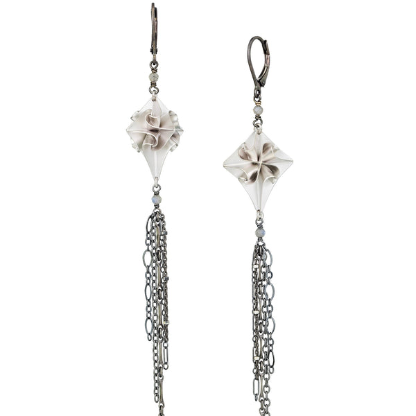 Chihiro Makio - Large Silver Stardust Dangle Earrings